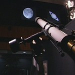 Zeiss refractor telescope spotting a moon slide