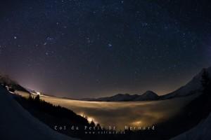 January 3, 2011: Orion above a sea of clouds, Col du Petit St. Bernard