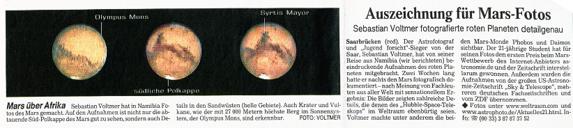 1st prize for Mars image
